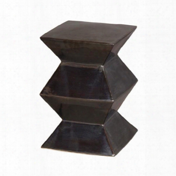 Zigzag Garden Stool In Metallic Black Design By Emissary