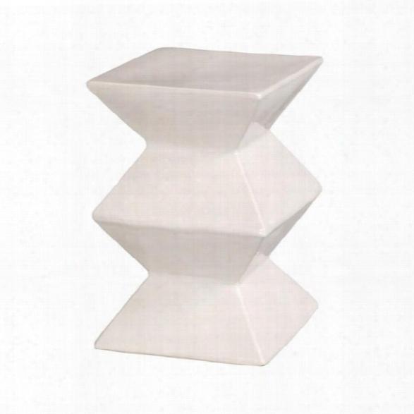 Zigzag Garden Stool In White Design By Emissary