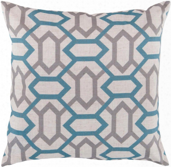 """Zoe 18"""" X 18"""" Polyester Pillow In Cream And Teal Shade By Surya"""