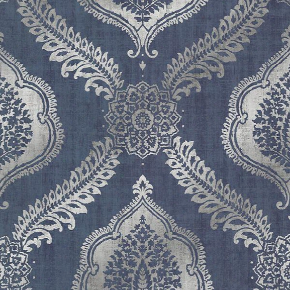 Zoraya Navy Damask Wallpaperr From The Alhambra Collection By Brewster Home Fashions
