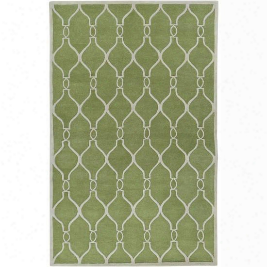 Zuna Collection New Zealand Wool Area Rug In Palm Green And Ivory Design By Jill Rosenwald