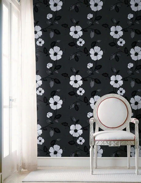 Zync Black Modern Floral Wallpaper Design By Brewster Home Fashions