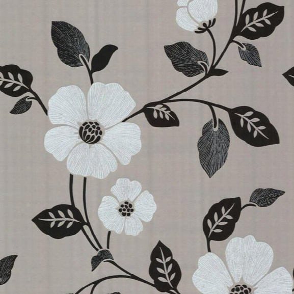 Zyn Csilver Modern Floral Wallpaper Design By Brewster Home Fashions