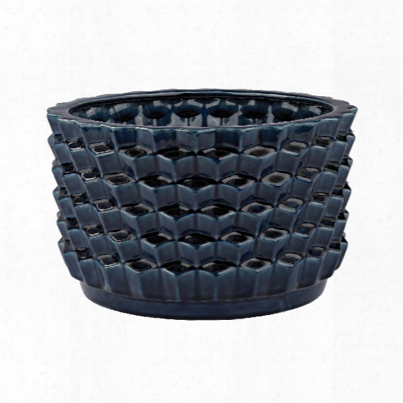 Accordion Crackled Blue Pot Design By Lazy Susan