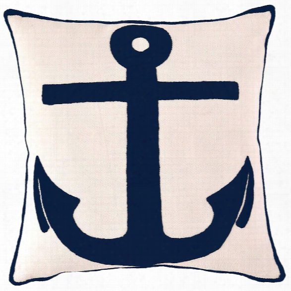 Admiral Ivory/navy Indoor/outdoor Pillow Design By Fresh American