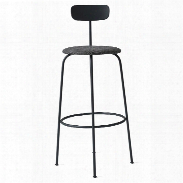 Afteroom Bar Stool In Black W/ Basel 183 Fabric Upholstery Design By Menu