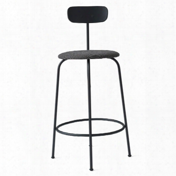 Afteroom Counter Stool In Black W/ Basel 183 Fabric Upholstery Design By Menu
