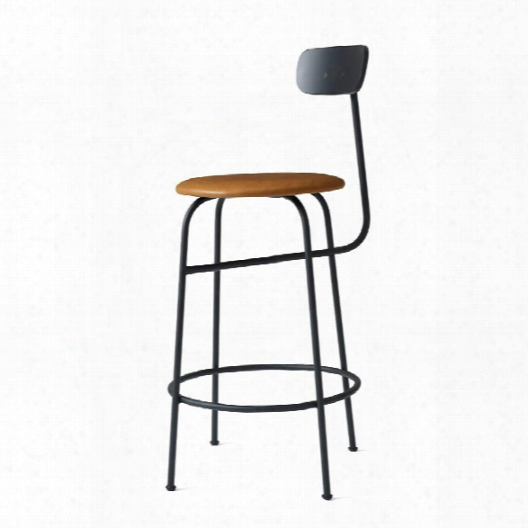 Afteroom Counter Stool In Black W/ Cognac Dunes Leather Upholstery Design By Menu