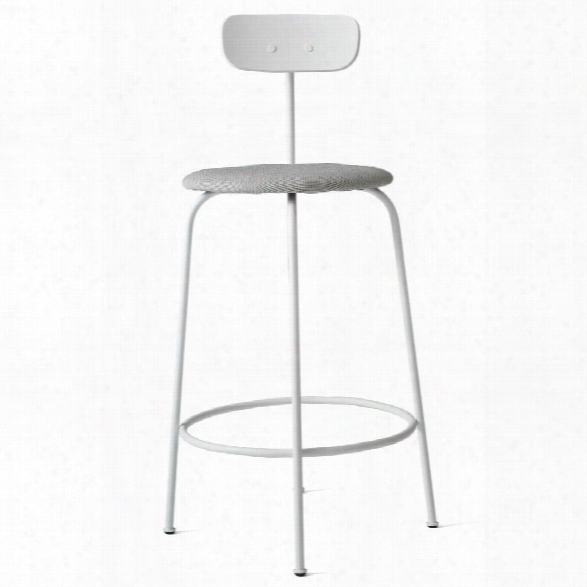 Afteroom Counter Stool In White W/ Basel 123 Fabric Upholstery Design By Menu