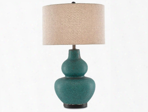 Agean Table Lamp In Matte Turquoise Design By Currey & Company