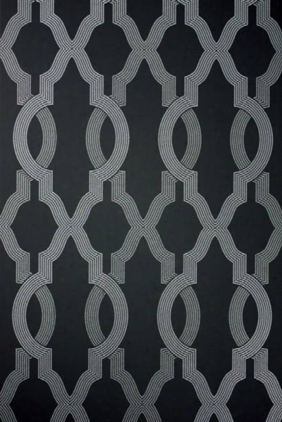 Cannetille Wallpaper In Black And Silver From The Cabochon Collection By Osborne & Little