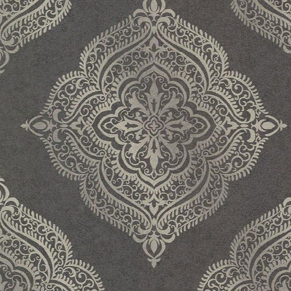 Capella Charcoal Medallion Wallpaper From The Avalon Collection By Brewster Home Fashions