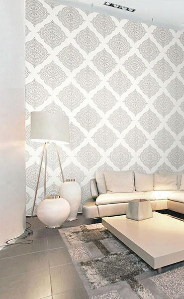 Capella Cream Medallion Wallpaper From The Avalon Collection By Brewster Home Fashions