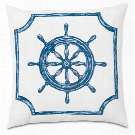 Captain's Wheel Hand-painted Designer Pillow Design By Studio 773
