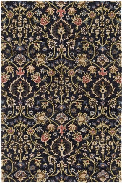 Castello Rug In Dark Brown & Rose Design By Surya