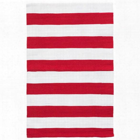Catamaran Stripe Red & White Indoor/outdoor Rug Design By Dash & Albert