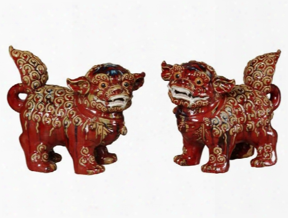 Ceramic Foo Dogs In Flambe Red Design By Emissary