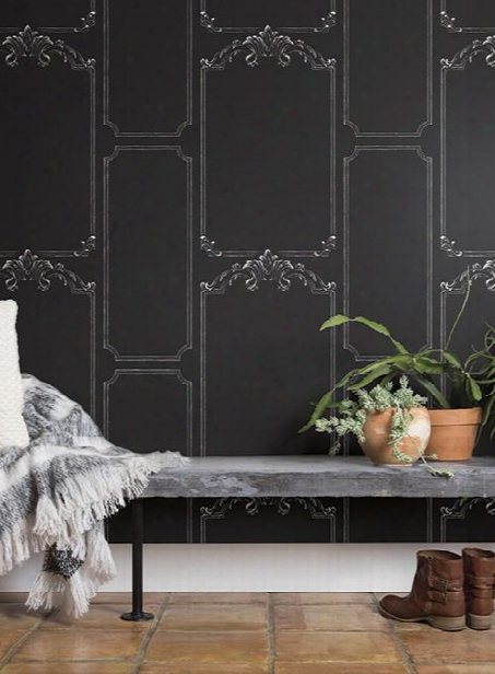 Chalkboard Wallpaper In Black From The Magnolia Home Collection By Joanna Gaines