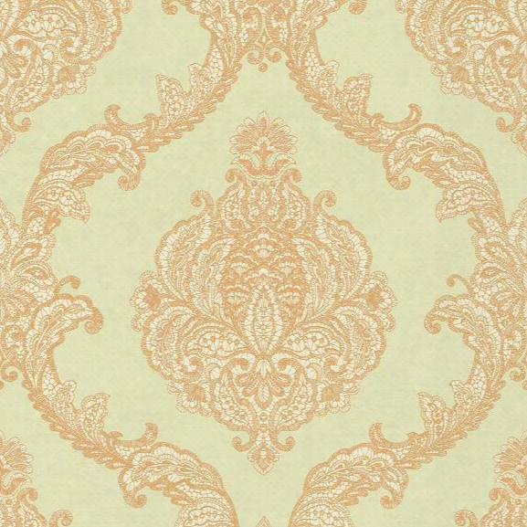 Chantilly Lace Wallpaper In Gold And Pale Aquamarine By Antonina Vella For York Wallcoverings