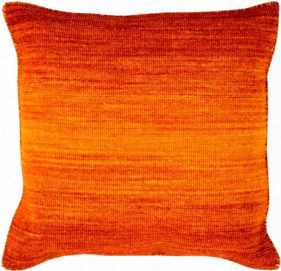 "Chaz 18"" X 18"" Wool Cushion In Bright Orange And Burnt Orange Shade By Surya"