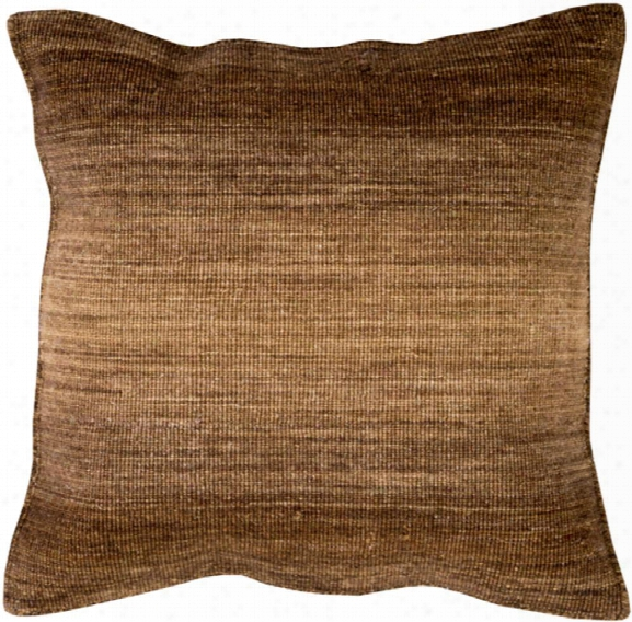 """Chaz 18"""" X 18"""" Wool Pillow In Camel And Dark Brown Tone By Surya"""
