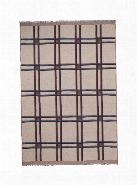 Checked Wool Blend Blanket In Beige Design By Ferm Living