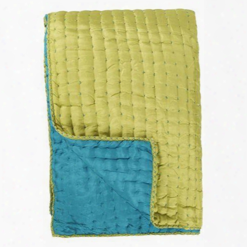 Chenevard Turquoise And Pistachio Pure Silk Quilt And Shams Design By Designers Guild