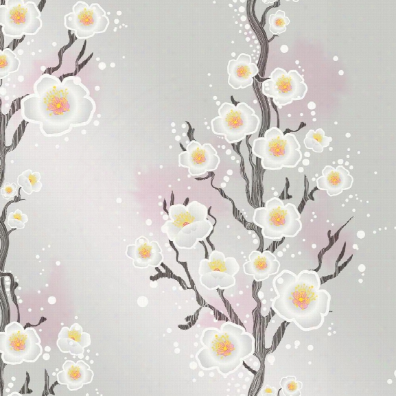 Cherry Blossom Self Adhesive Wallpaper In Silver By Cynthia Rowley For Tempaper