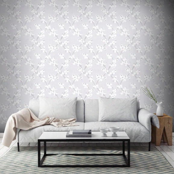 Cherry Blossom Wallpaper In Silver From The Elegance Colection By Graham & Brown