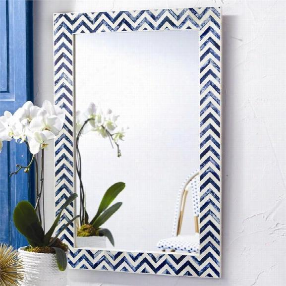 Chevron Indigo Bone Wall Mirror Design By Twos Company