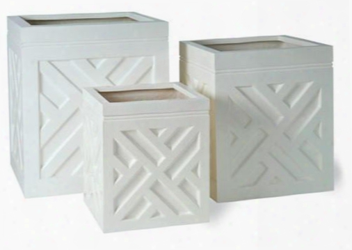 Chippendale Planters In Gloss White Design By Capital Garden Products