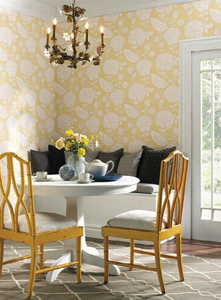 Chunky Floral Wallpaper In Butter Yellow Design By Carey Lind For York Wallcoverings