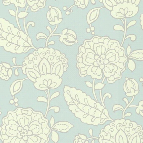 Chunky Floral Wallpaper In Pale Blue Design By Carey Lind For York Wallcoverings