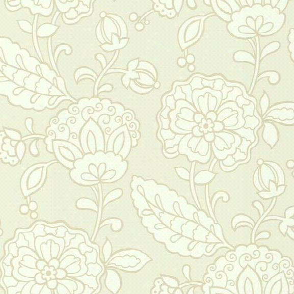 Chunky Floral Wallpaper In Pearlescent And Beige Design By Carey Lind For York Wallcoverings