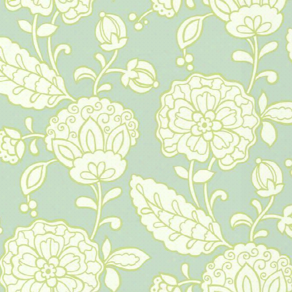 Chunky Floral Wallpaper In Seafoam Green And Lime Design By Carey Lind For York Wallcoverings
