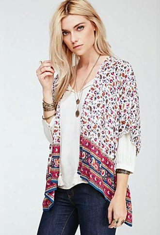 Floral Print Dolman Kimono
