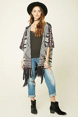 Fringed Geo-patterned Poncho