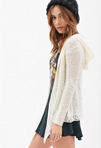 Hooded Crochet-trimmed Cardigan