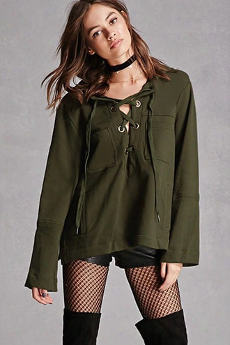 Lace-up Terry Knit Hoodie