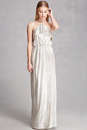 Metallic Maxi Halter Dress
