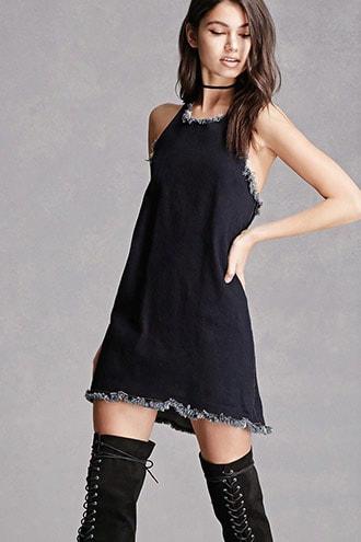 Raw-cut Denim Halter Dress