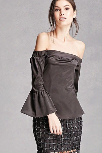 Satin Bell-sleeve Top