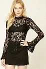 Floral Lace Bell-Sleeve Top