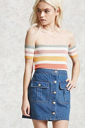 Denim Button-front Skirt
