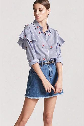 Embroidered Flounce-trim Pinstripe Shirt
