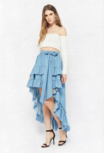 Eta Chambray Ruffle Skirt