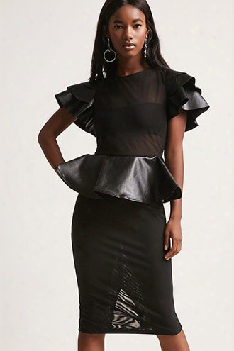 Faux Leather Peplum Dress