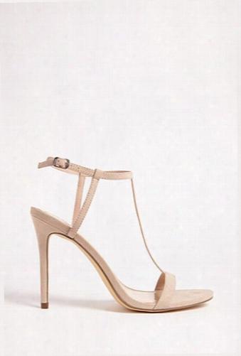 Faux Suede T-strap Heels