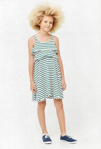 Girls Striped Flounce Dress (kids)