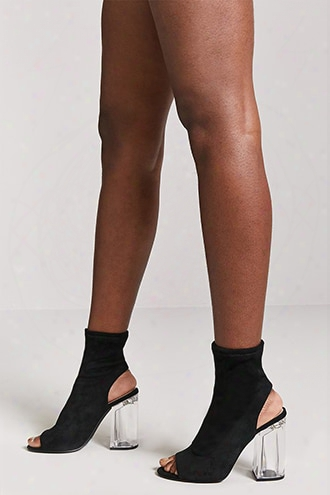 Lucite Heel Faux Suede Boots